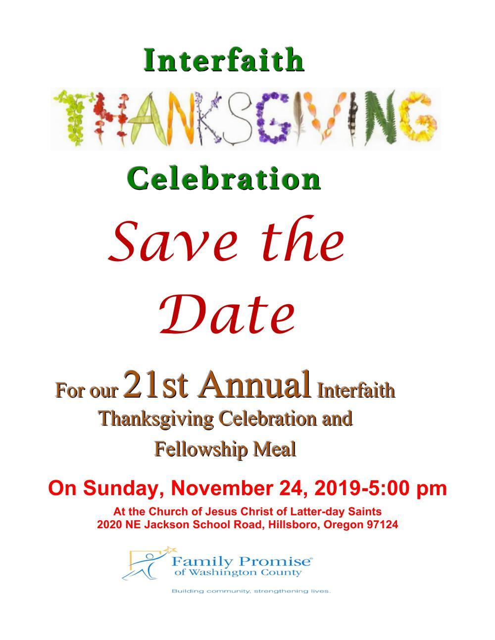 Interfaith Thanksgiving Celebration