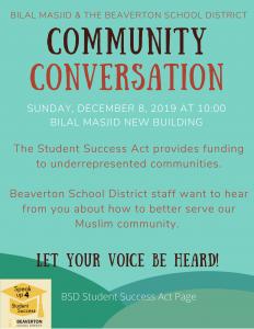 COMMUNITY CONVERSATION with BEAVERTON SCHOOL DISTRICT