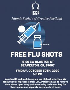 Free Flu Shots Friday October 30th 2020 1-5 PM