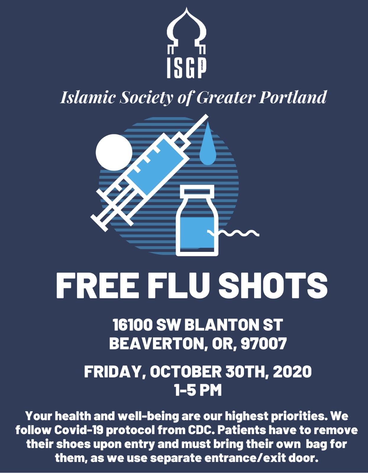 Free Flu Shots Friday October 30th 2020 1-5 PM