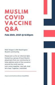 TODAY TALK: Covid -19 Vaccine Q&A for Muslims Oregon & SW Washington